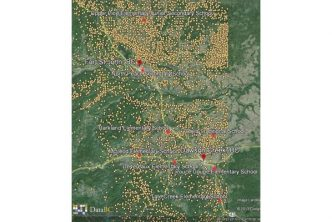 Yellow dots are wells; red dots are schools in the Dawson Creek/Fort St. John area.
