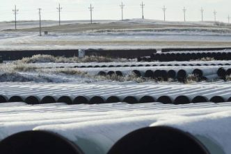A depot used to store pipes for TransCanada Corp.'s planned Keystone XL oil pipeline is seen in Gascoyne, N.D., in this file photo taken Nov. 14, 2014. (Reuters)