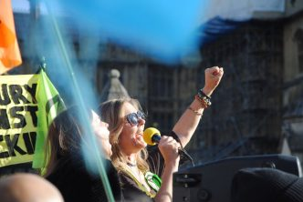 Singers perform at the Extinction Rebellion rally in London, England, on October 31, 2018. Kay Michael / Extinction Rebellion