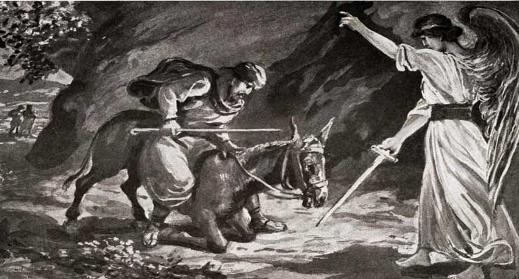 Angel confronts Balaam and his donkey