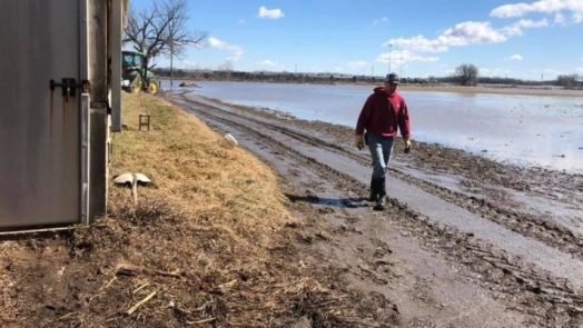 Midwest flooding of agricultural land