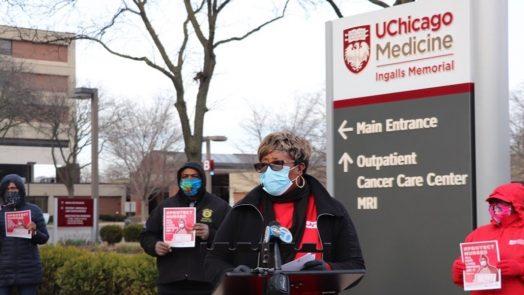 Chicago nurses protest lack of protective masks.