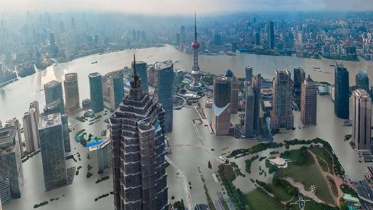 Shanghai underwater with 4 degrees of warming