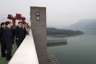 China's President Xi Jinping inspects the Three Gorges Dam