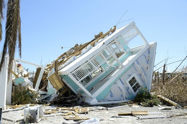 House overturned by hurricane